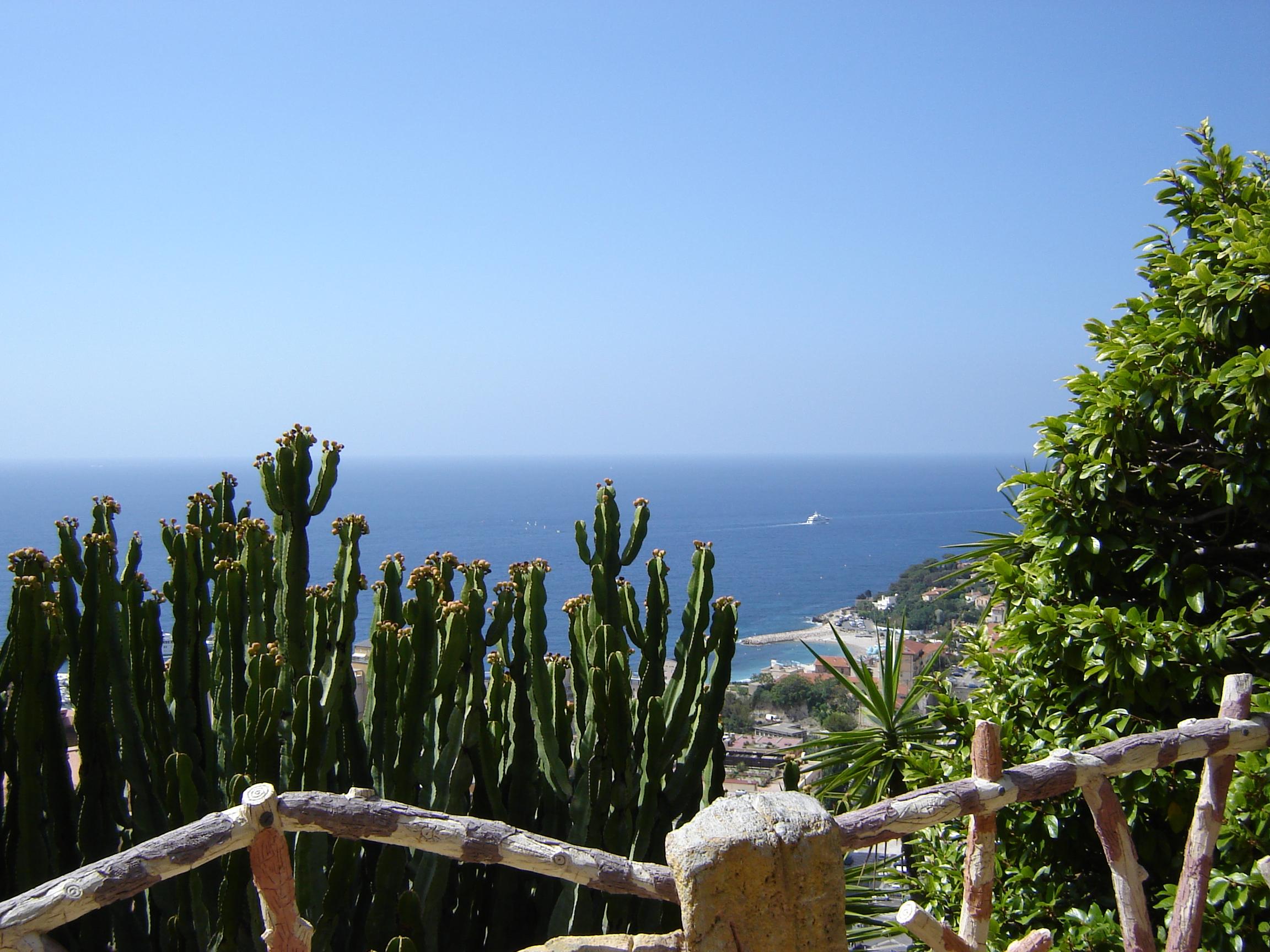 Uitzicht vanuit de Jardin Exotique in Monaco